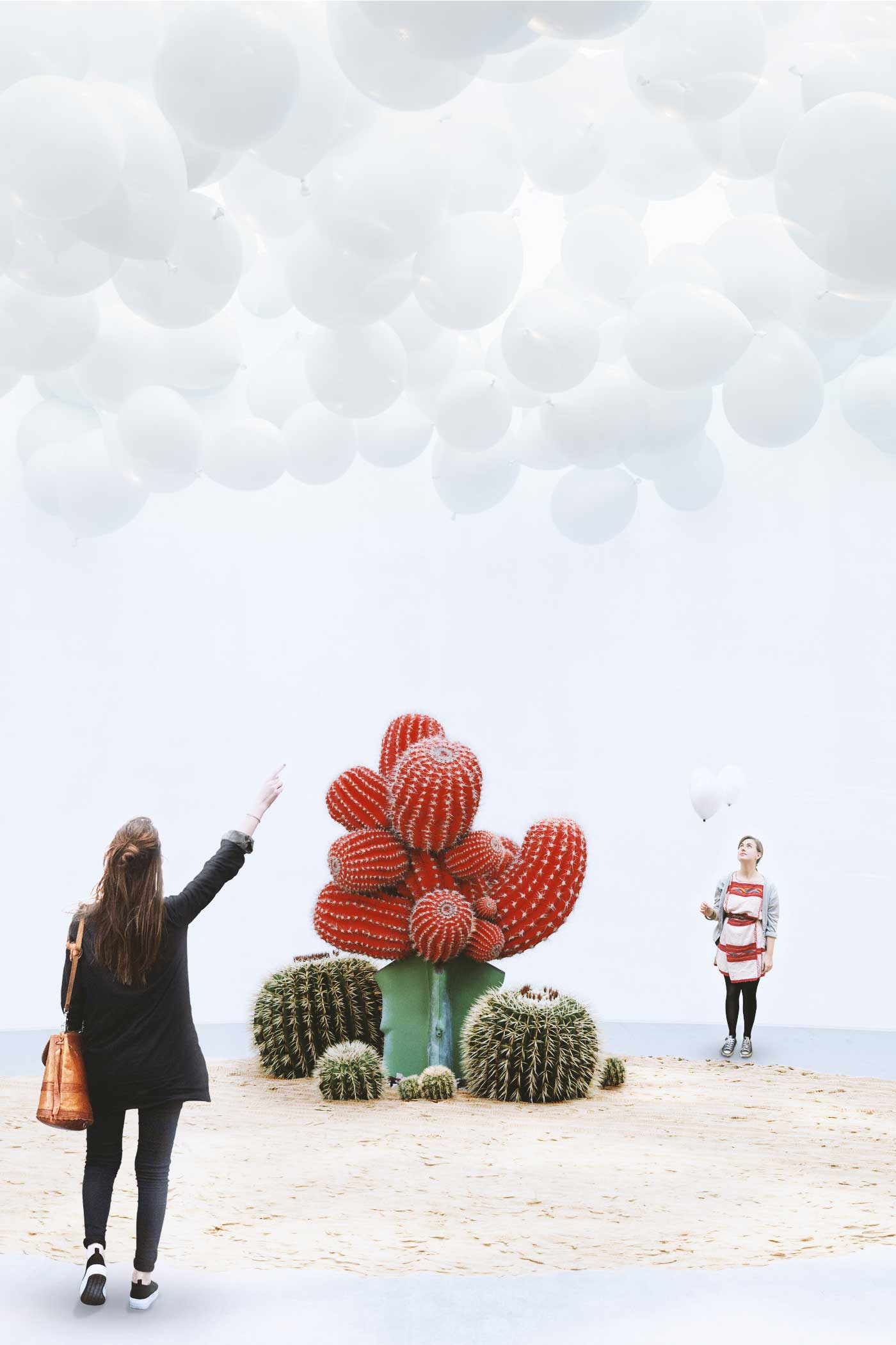 Tension - red cactus and white balloons gallery